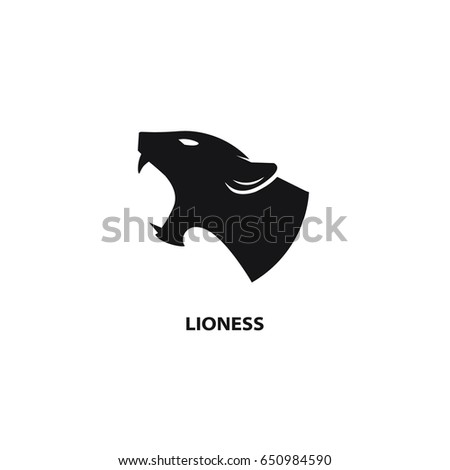snarling lioness black icon on