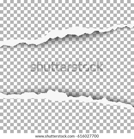 Snatched middle of paper with torn edges, soft shadow and space for text. Damaged sheet of paper with transparent background for banner, ad and other aims. Template paper design.