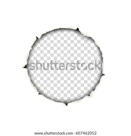 Snatched round hole in paper sheet placed on transparent background. Template paper design.