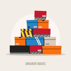 Sneaker boxes, flat design style illustration.