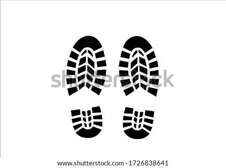 sneaker foot print deign vector Tracking track footprints human shoes shoe sole funny feet footsteps paws people silhouette follow vector hiking route steps sign foot Walks Walking banner health