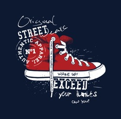 Sneaker illustration for t-shirt. College style shoe.