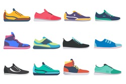 Sneaker shoe. Athletic sneakers, fitness sport shop footwear collection on white background. Set of sport shoes for training, running. Vector illustration in flat design, eps 10.