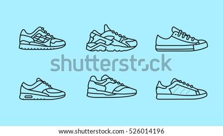 Sneaker Shoe Minimalistic Flat Line Outline Stroke Icon Pictogram Symbol