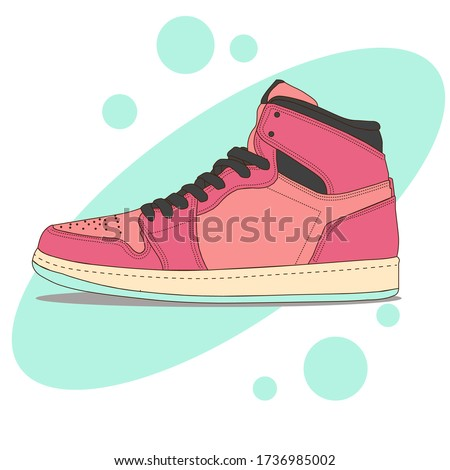 Sneaker shoes . Consept. Flat design. Vector illustration. Sneakers in flat style. Sneakers side view. Fashion sneakers.