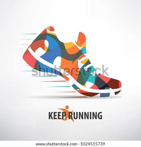 sneaker stylized vector symbol, running concept background
