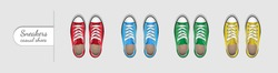 Sneakers are casual shoes. Four pairs of sneakers of different colors. School shoes.