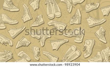 Sneakers Background - stock vector