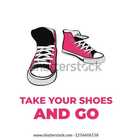 Sneakers converse shoes pair isolated. Hand drawn vector illustration of pink shoes in perspective. Sport boots hand drawn for logo, poster, postcard, fashion booklet, flyer. Vector sketch sneakers.