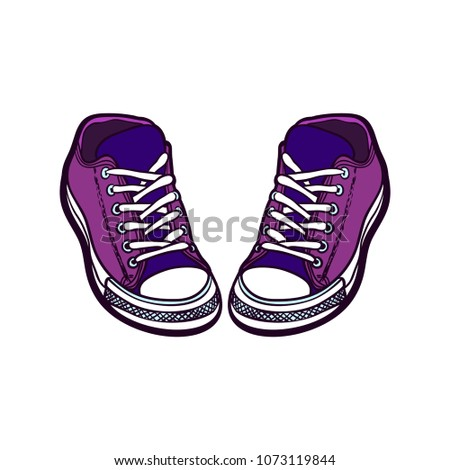 72d16b246cb458 Sneakers converse shoes pair isolated. Hand drawn vector illustration of  shoes. Sport boots hand