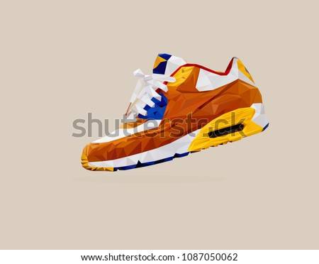 Sneakers. Fitness sneakers. Shoes for training and running. Sport shoes for men and women. Low poly. Vector illustration.