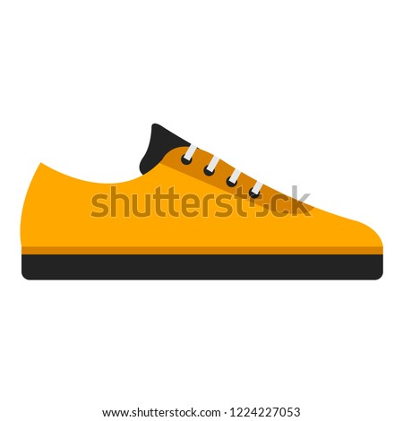 Sneakers flat icon. You can be used sneakers icon for several purposes like: websites, UI, UX, print templates, promotional materials, info-graphics, web and mobile phone apps.