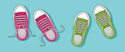 Sneakers icon, colorful pair. Top view. Casual youth shoes with shadow on blue background. Vector illustration