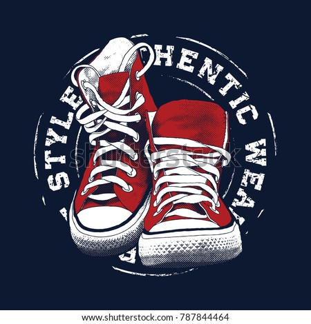 Sneakers illustration for t-shirt. College style pair of shoes.
