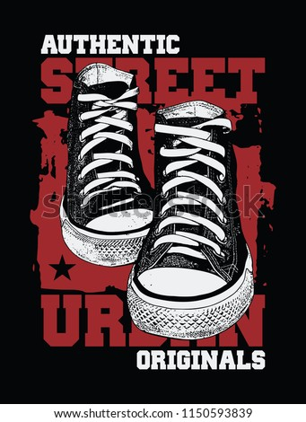 Sneakers illustration for t-shirt. College style pair of shoes on black background. 2 colors print.