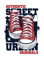 Sneakers illustration for t-shirt. College style pair of shoes on white background. 2 colors print.