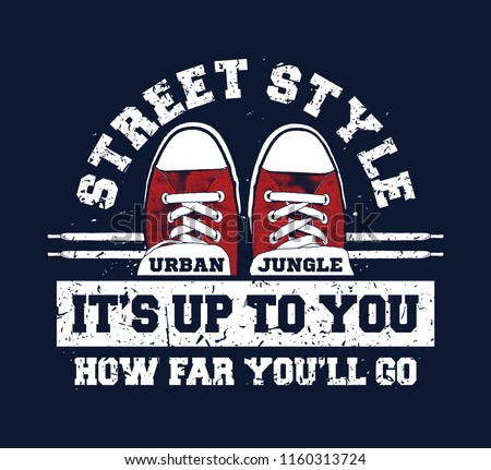 Sneakers illustration for t-shirt. College style pair of shoes with text.