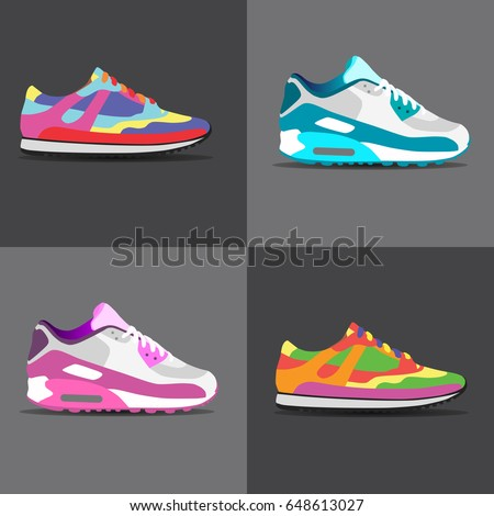 Sneakers on background, vector illustration