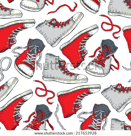sneakers seamless pattern with