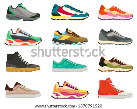 Sneakers shoes. Fitness footwear for sport, running and training. Colorful modern shoe designs. Sneaker side view cartoon icons vector set. Bright massive footwear for casual lifestyle Foto d'archivio ©