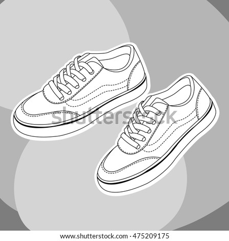 sneakers shoes hand drawn