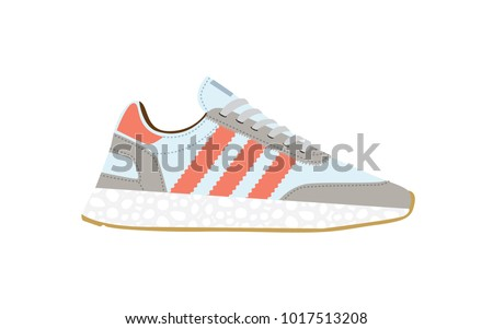 Sneakers. Sneakers in flat style. Sneakers side view. Fashion sneakers. Vector illustration Eps file