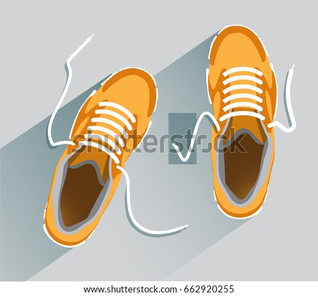 Sneakers. Sneakers in flat style. Sneakers top view.  Fashion sneakers orange. Vector illustration Eps10 file