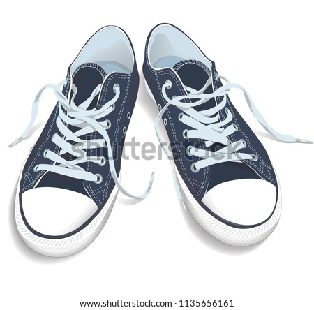 Sneakers top view. Sport shoes vector illustration. Isolated realistic blue keds Foto stock ©