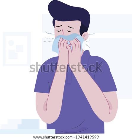 Sneezing boy concept vector illustration. A boy sneezing in handkerchief. Sick boy sneeze. Season allergy. coronavirus symptoms, covid 19, ill boy, flat design illustration for coronavirus symptoms