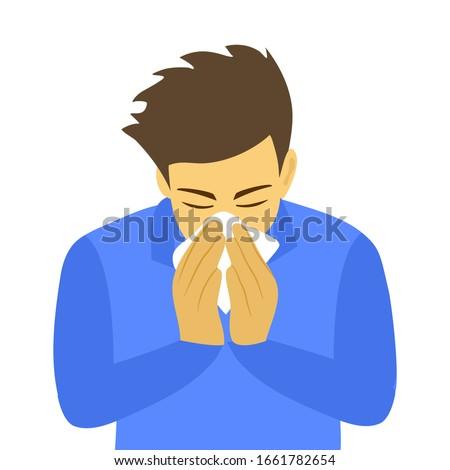 Sneezing man concept vector illustration on white background. A man in blue shirt sneezing in handkerchief. Sick man sneeze. Season allergy.