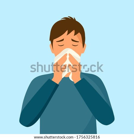 Sneezing man concept vector illustration on white background. A man in dark blue t-shirt sneezing in handkerchief. Sick man sneeze. Season allergy. Covid-19 coronavirus pandemic influenza infection. Stock photo ©