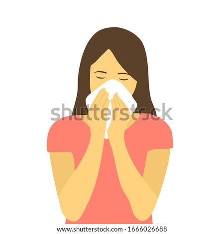 Sneezing woman concept vector illustration on white background. A woman in pink dress sneezing in handkerchief. Sick woman sneeze. Season allergy.