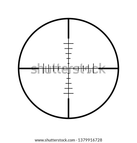 Sniper rifle aim isolated on white. Crosshair target choose destination icon. Aim shoot focus cursor. Bullseye mark targeting. Game aiming sight dot pointer. Vector illustration