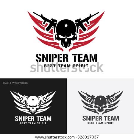 sniper team  games logo template