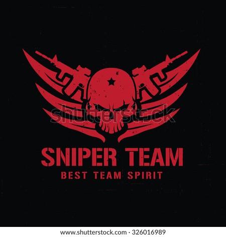 sniper team logo skull logo