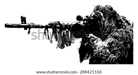 sniper with camouflage suit on