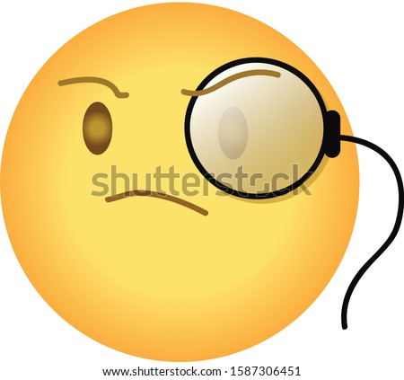 Snobbish arrogant emoji with monocle. Yellow face with furrowed eyebrows wearing a monocle, having small, intent frown and head slightly upturned as sign of arrogance.