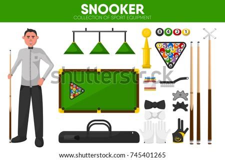 Snooker billiards sport equipment pool player garment accessory vector flat icons set
