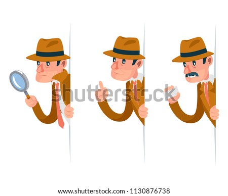 Snoop detective magnifying glass tec peeking out corner search help noir cartoon design character isolated set vector illustration