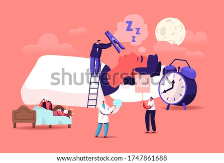 Snore Concept. Tiny Characters Sleeping in Bed and Suffering of Snoring, Angry Awake Man Listening Night Snoring of Wife, Sleep Apnea Syndrome, Medical Treatment. Cartoon People Vector Illustration Foto stock ©