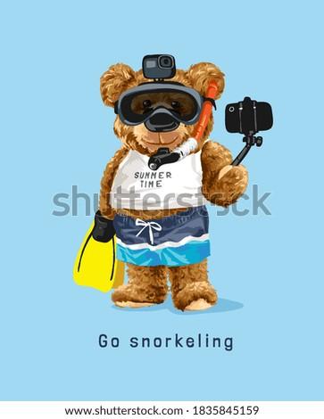 snorkeling slogan with bear doll in snorkeling mask taking selfie illustration