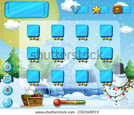 Snow and Christmas themed game elements