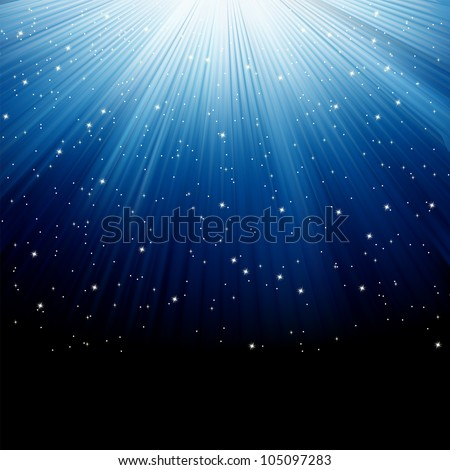 Snow and stars are falling on the background of blue luminous rays. EPS 8 vector file included