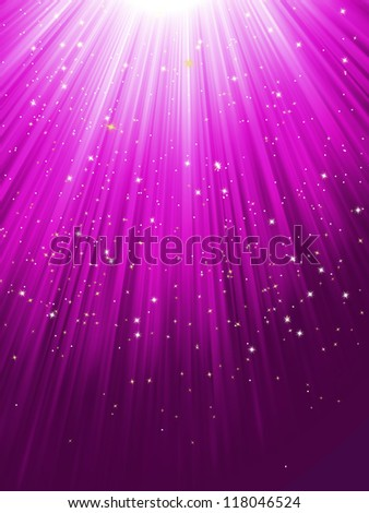 Snow and stars are falling on the background of purple luminous rays. EPS 8 vector file included