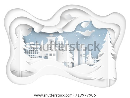 Snow and winter season abstract background with urban landscape for merry Christmas and happy new year paper art style.Vector illustration.