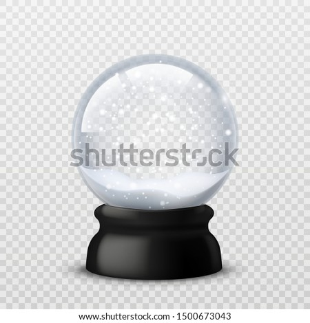 Snow ball. Christmas and new year realistic crystal with snow, xmas magical sphere. Winter souvenir toy, snowglobe vector transparent traditional snowball mockup