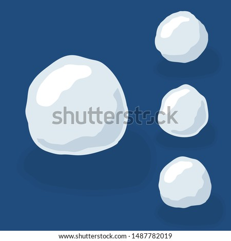 Snow ball ice set. Winter design snowy icicle snowball. White blue snow template. Decoration isolated blue background. 3D cartoon snow ball. Christmas, New Year frozen Vector illustration