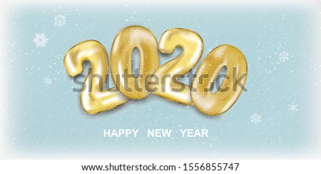 Snow banner 2020 Happy New Year. Golden numbers balls in 3d realistic style with snow. Festive banner design. Holiday vector illustration 2020