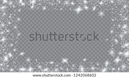 Snow Blizzard Effect. Bbright, White, Shimmer, Glowing, Scatter, Falling on a Transparent background. Festive picture of the Christmas banner.