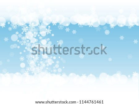 snow border with white snowflakes on horizontal winter background merry christmas and happy new year